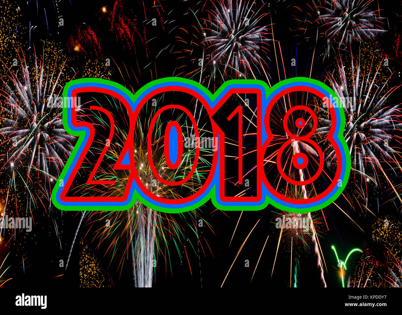 Fireworks 2018 New Years Eve concept exploding fire works celebration. Ratio for A5 and 7x5 greetings cards - Stock Image