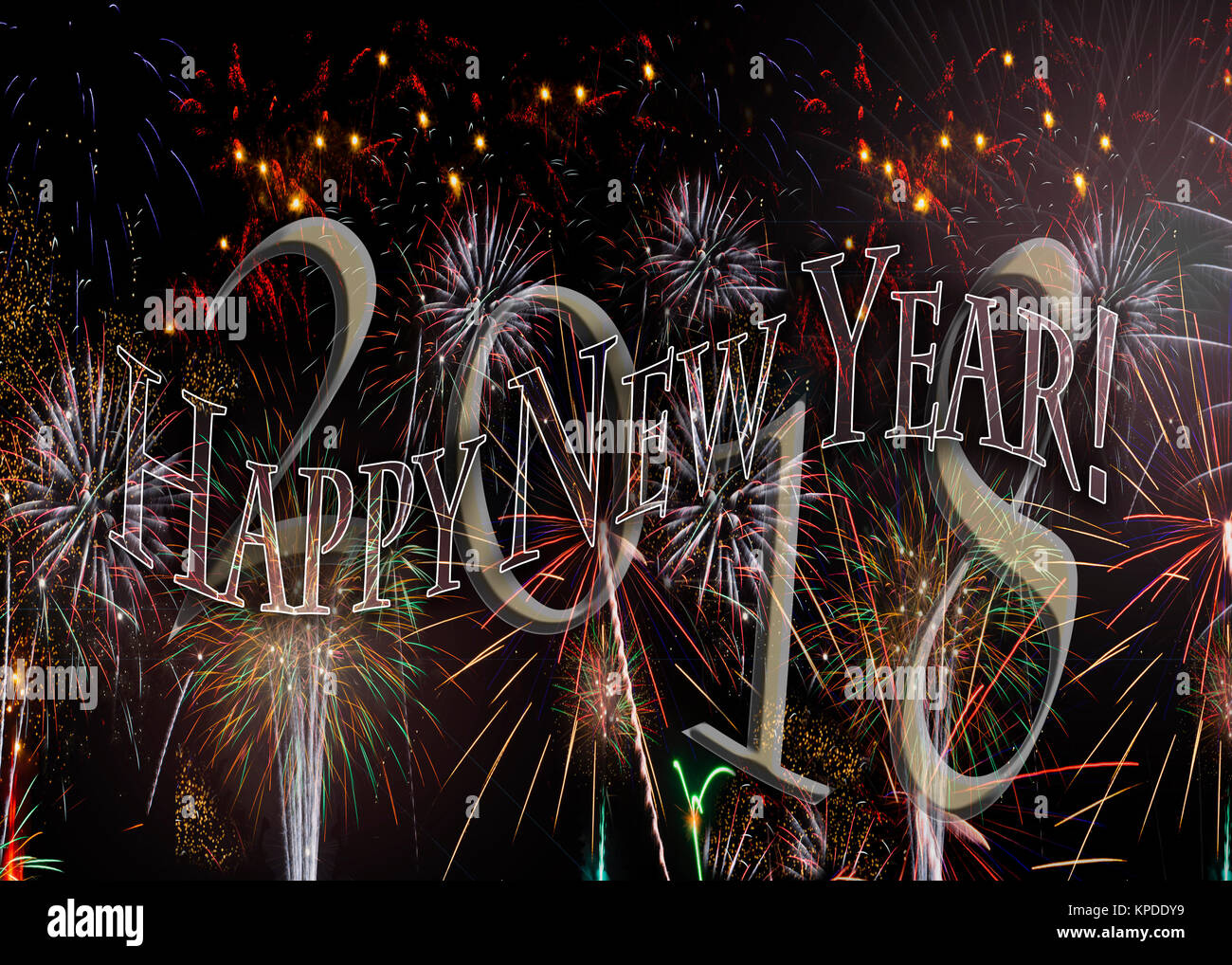 Fireworks 2018 New Years Eve concept transparent numbers with 2018 behind. Also available without the year see KPDDYA - Stock Image