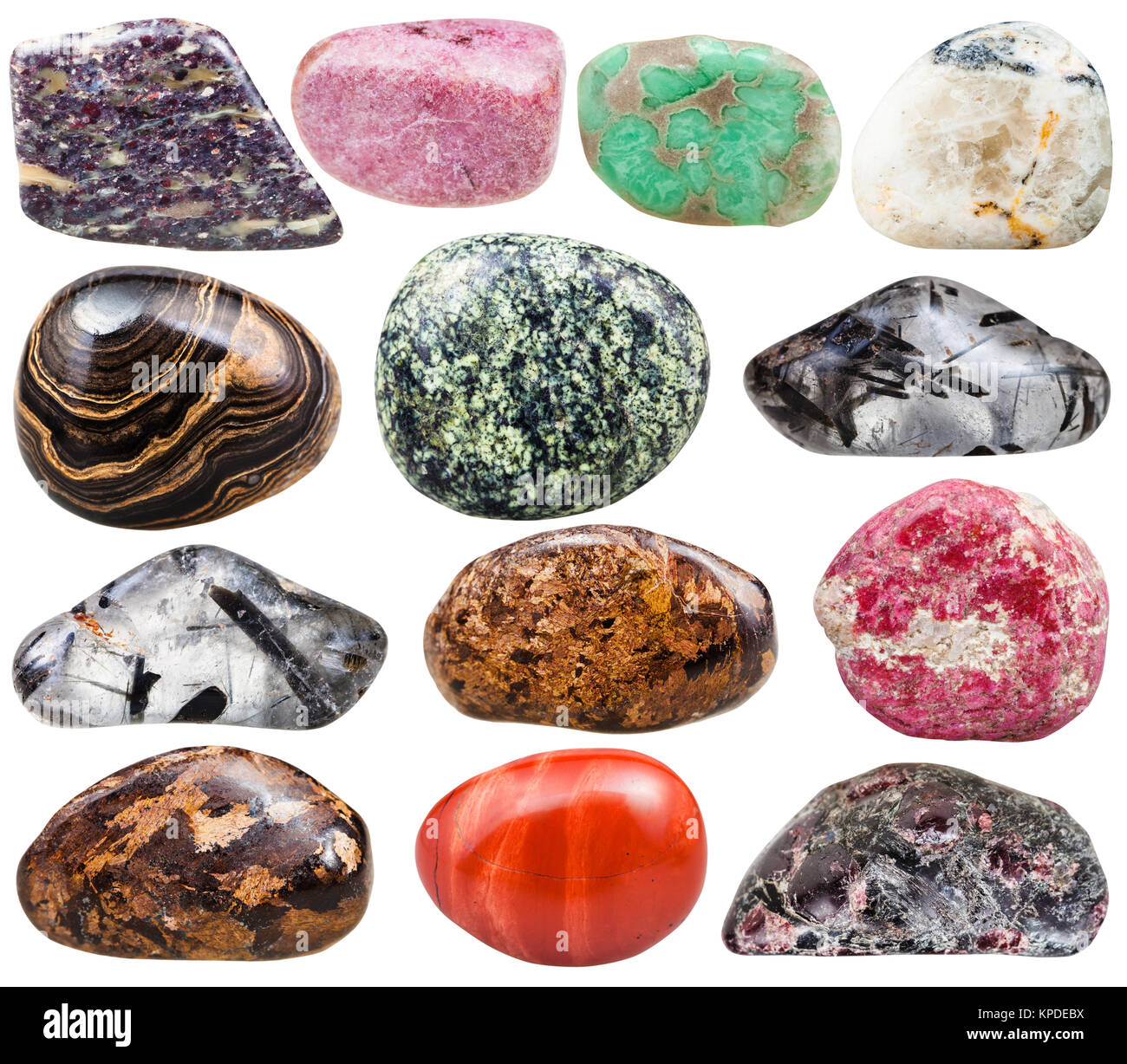 collection of natural mineral tumbled gemstones - Stock Image