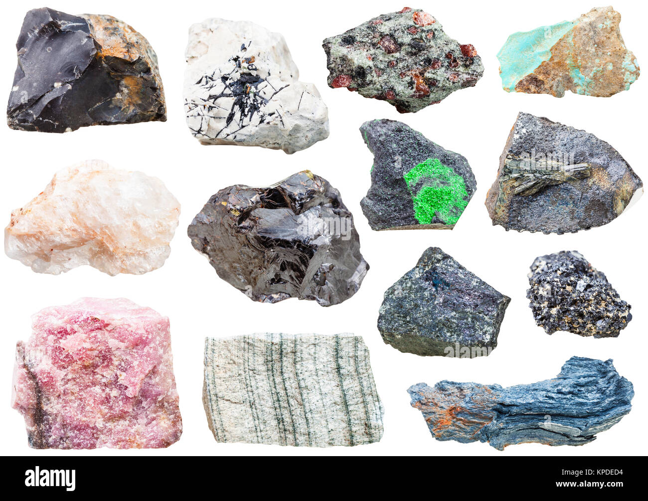 lot of natural mineral rock stones isolated - Stock Image