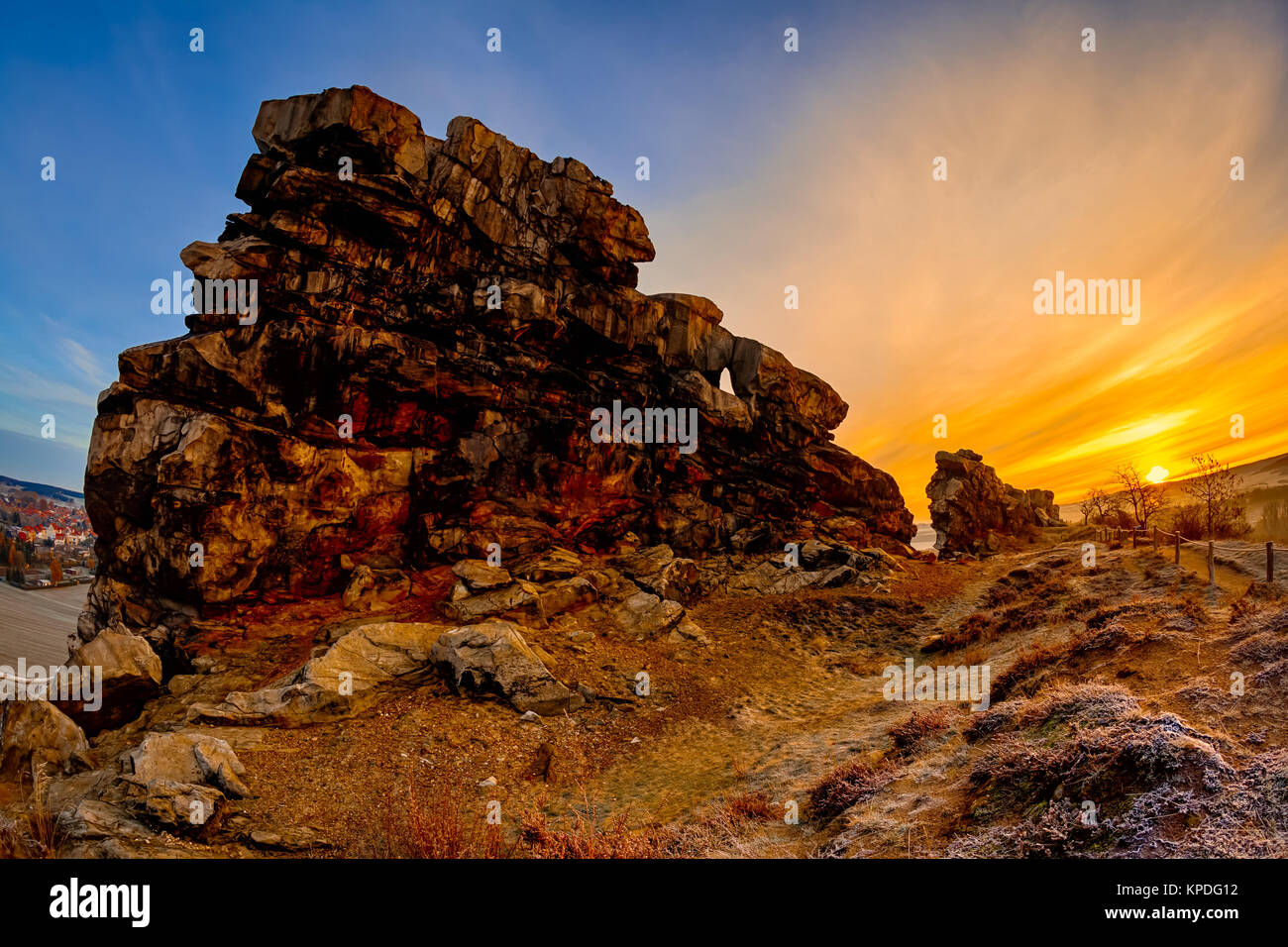 devil's wall near thale in the harz mountains at sunrise Stock Photo