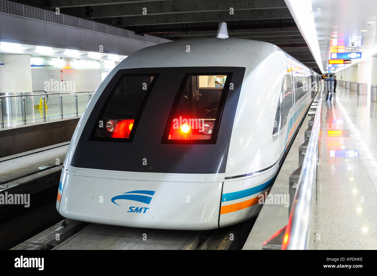 Shanghai Maglev Train - A Maglev Train is ready to depart from the platform at Pudong International Airport in Shanghai, - Stock Image