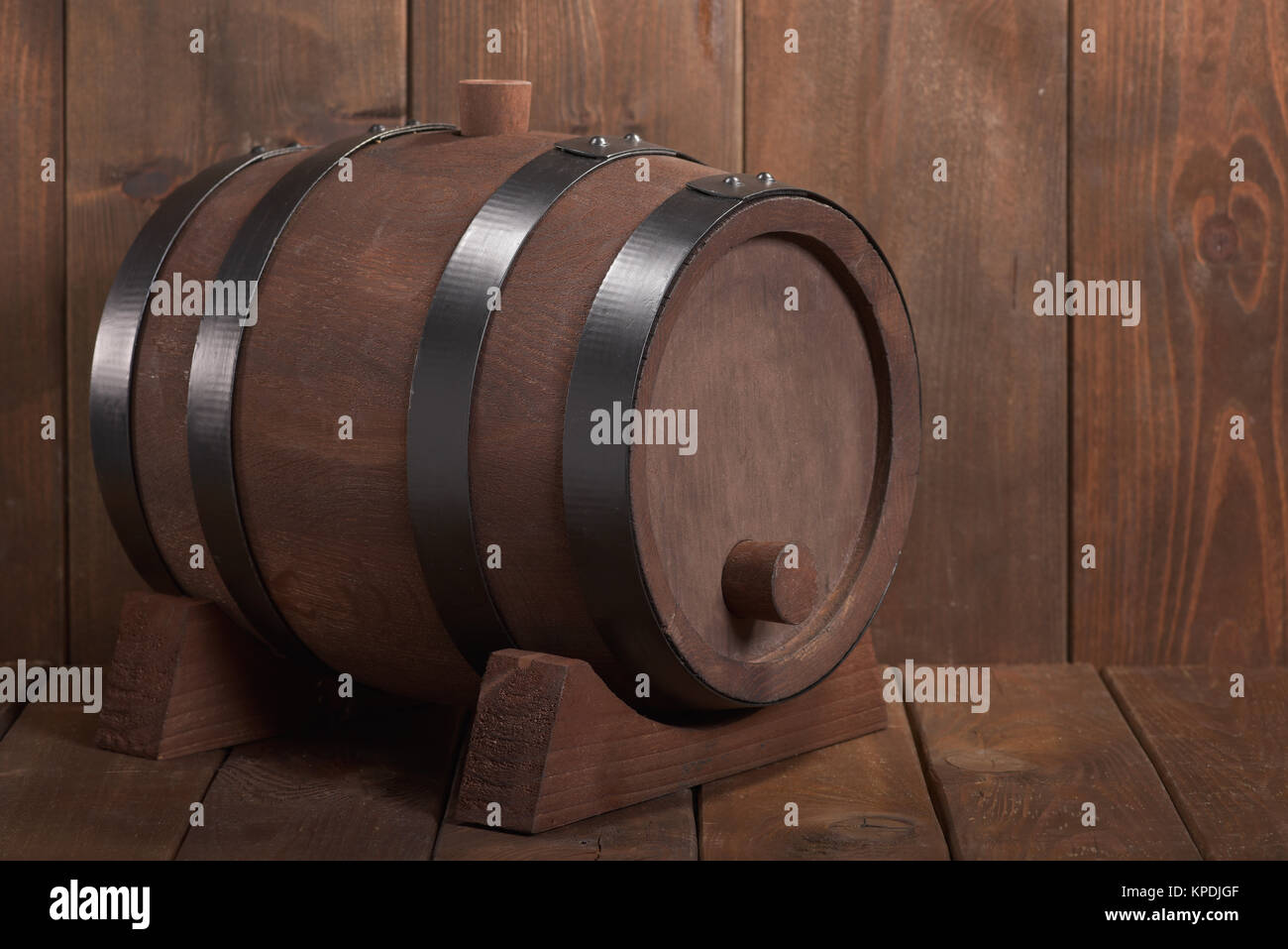 old wooden barrel - Stock Image