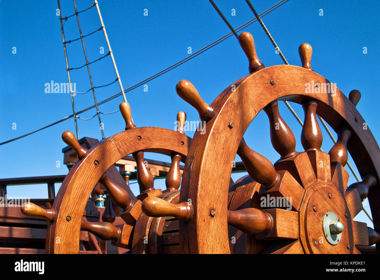 Double steering wheel of big sailing boat Stock Photo