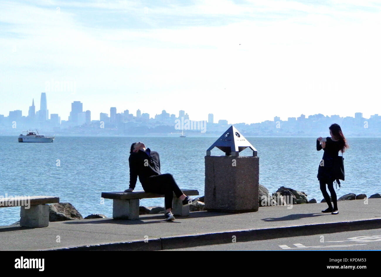 lovers relax and photgraph in sausalito Stock Photo