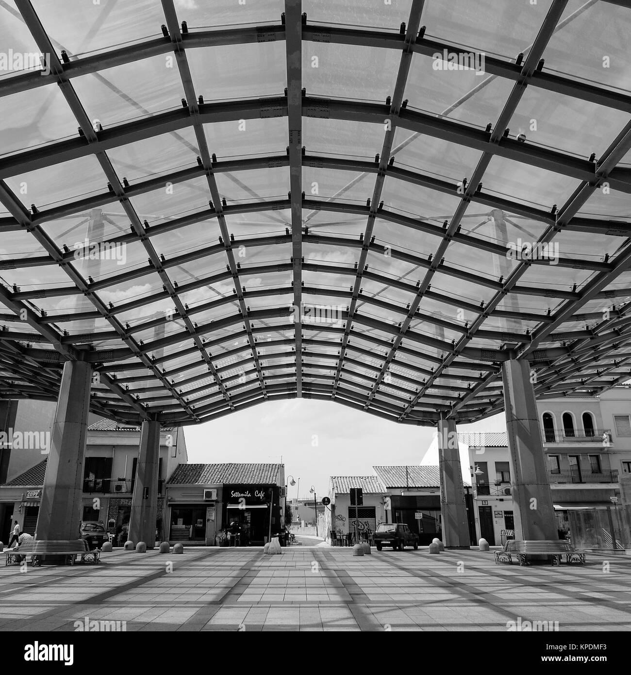 The covered market, Piazza Mercato, Olbia, Sardinia, Italy - Stock Image