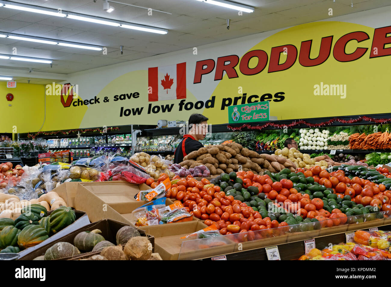 Grocery clerk in the Produce department of Buy Low Foods discount grocery store, Vancouver, BC, Canada - Stock Image