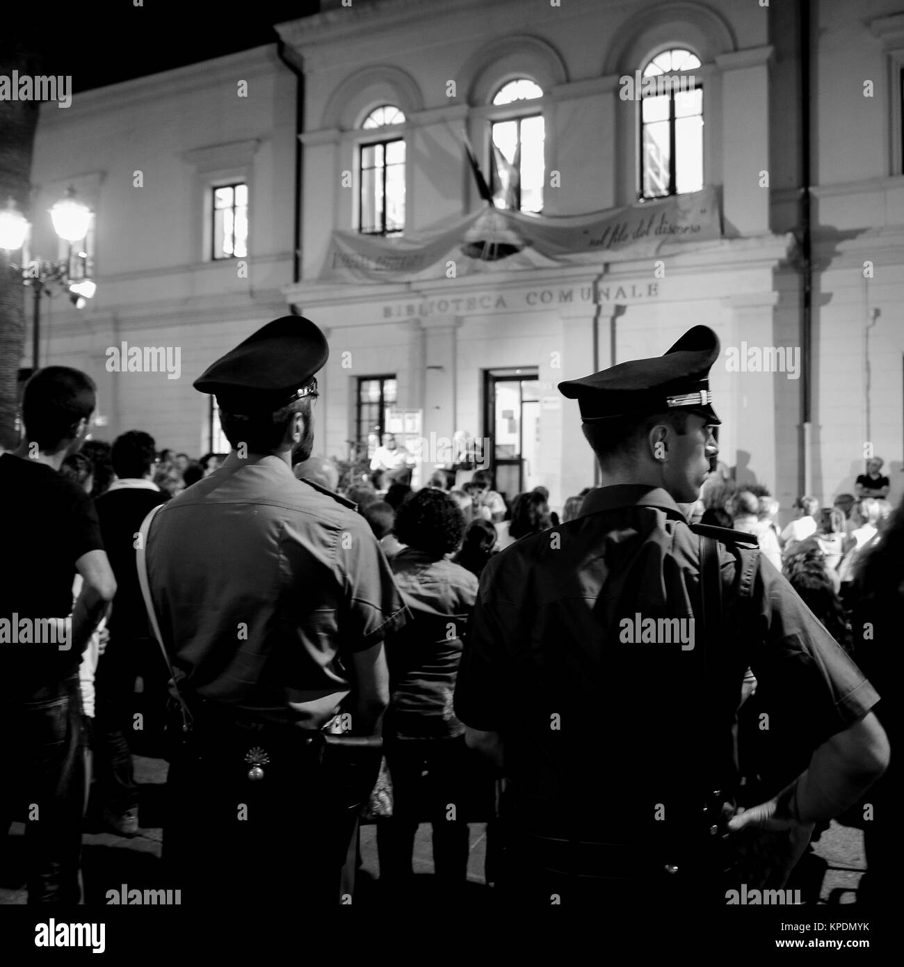 'Carabinieri', italian gendarmery officers, patrol at night in the touristic center of Olbia, Sardinia, - Stock Image