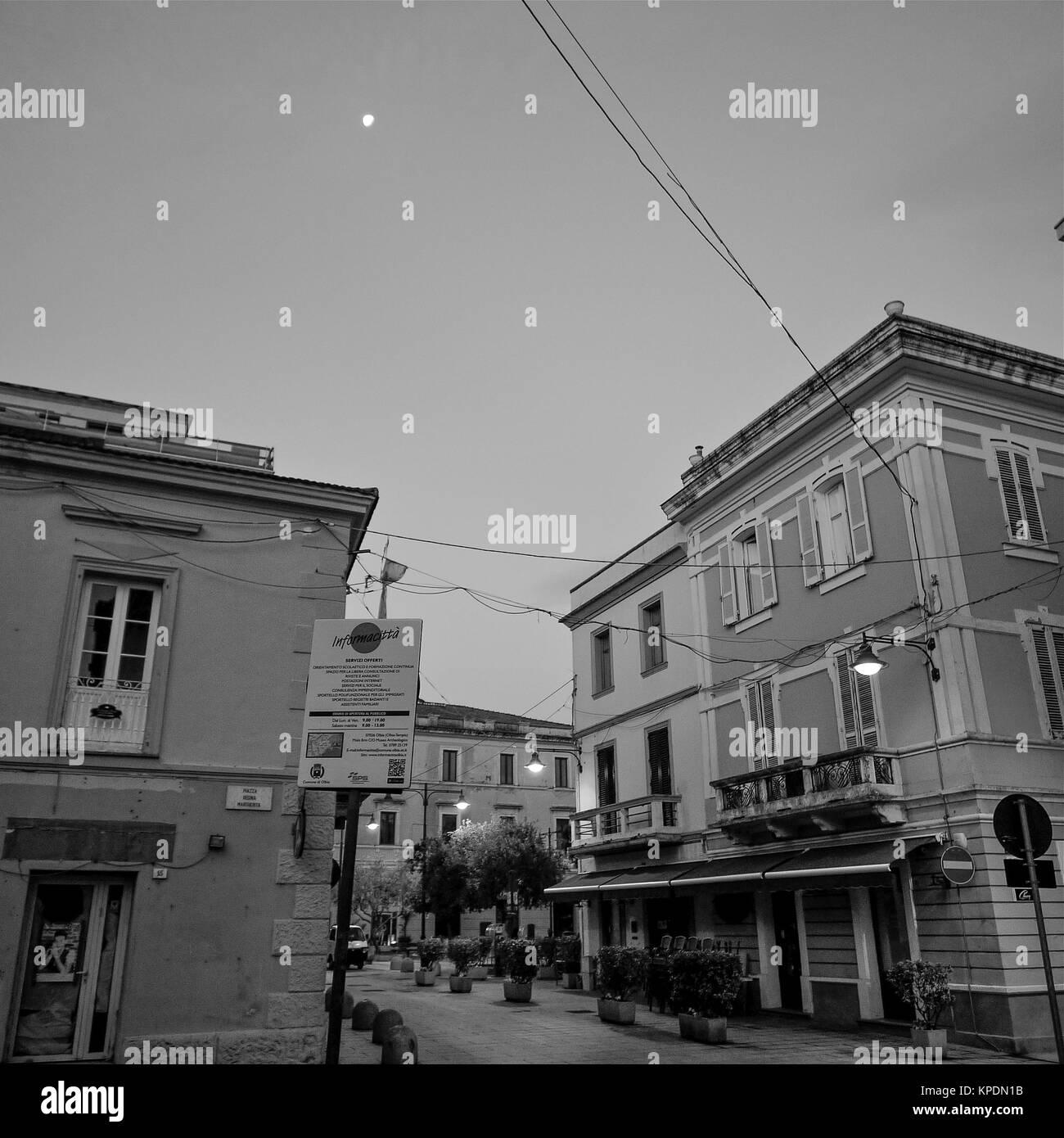 Black and white square view of Olbia, Sardinia, Italy - Stock Image
