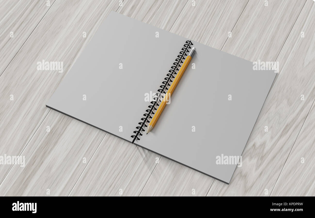 Blank note paper with pencil. on wood background Stock Photo