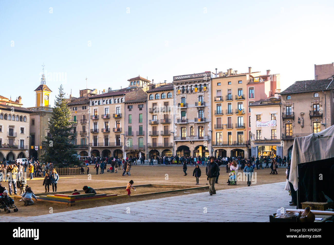 Vic, Spain - December 6, 2013 - View of the main square of Vic village, Spain - Stock Image