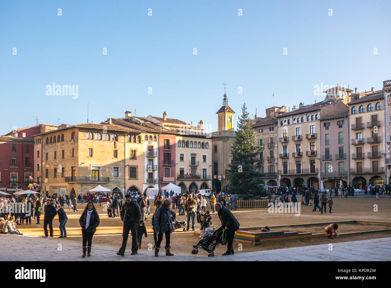 Vic, Spain - December 6, 2013 - View of the main square of Vic, Spain - Stock Image