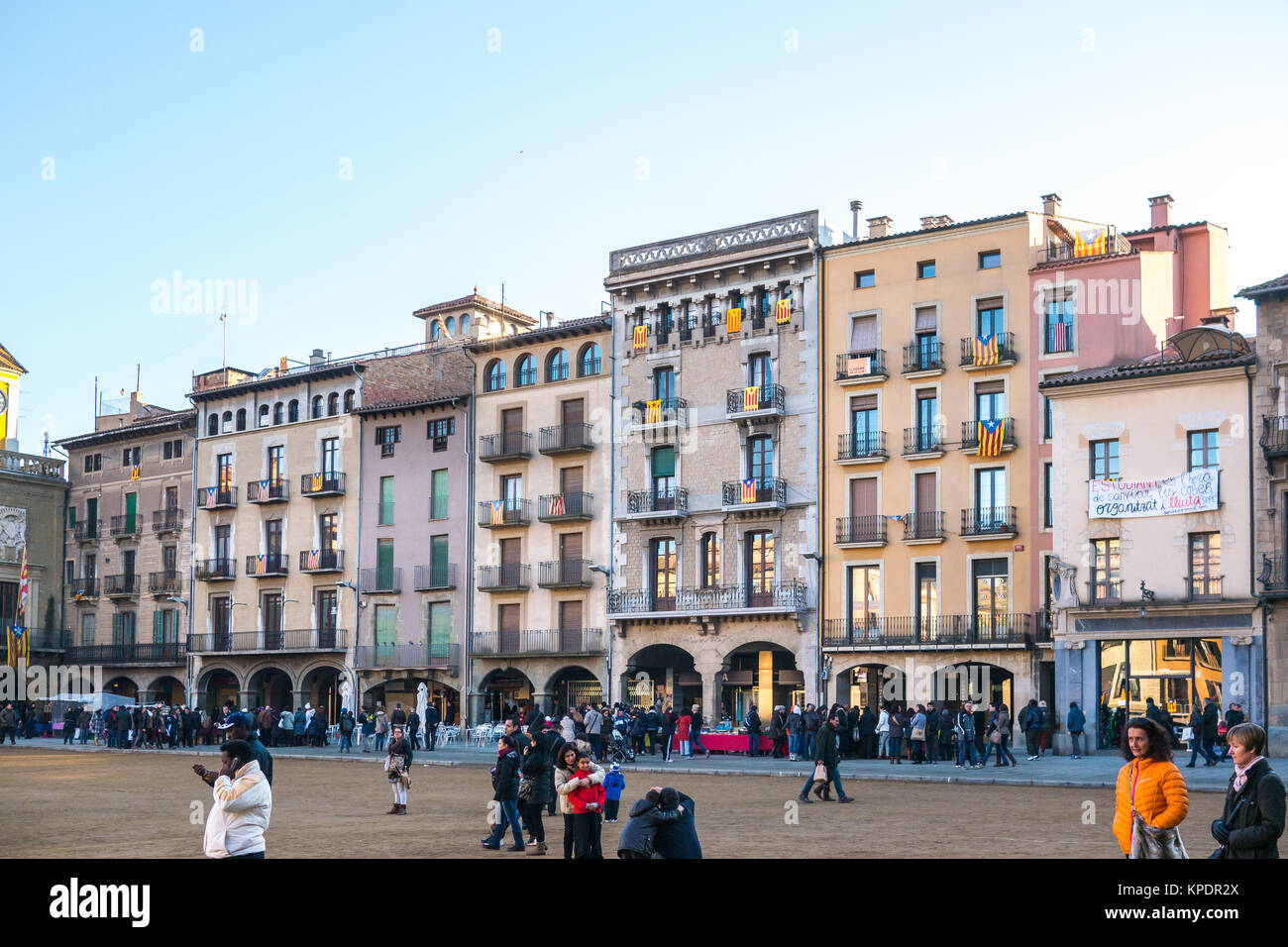 Vic, Spain - December 6, 2013 - View of the main square architecture of Vic, Spain - Stock Image