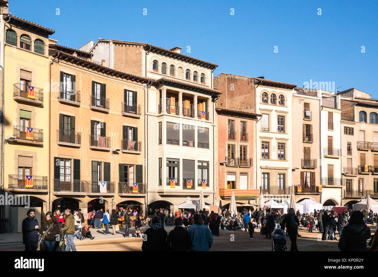 Vic, Spain - December 6, 2013 - View of the facades of the main square buildings in Vic, Spain - Stock Image