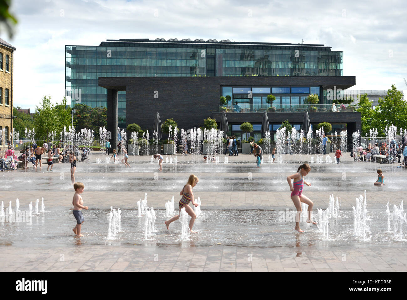 Granary Square, Camden, Kings Cross development, privately owned public space in London, UK - Stock Image