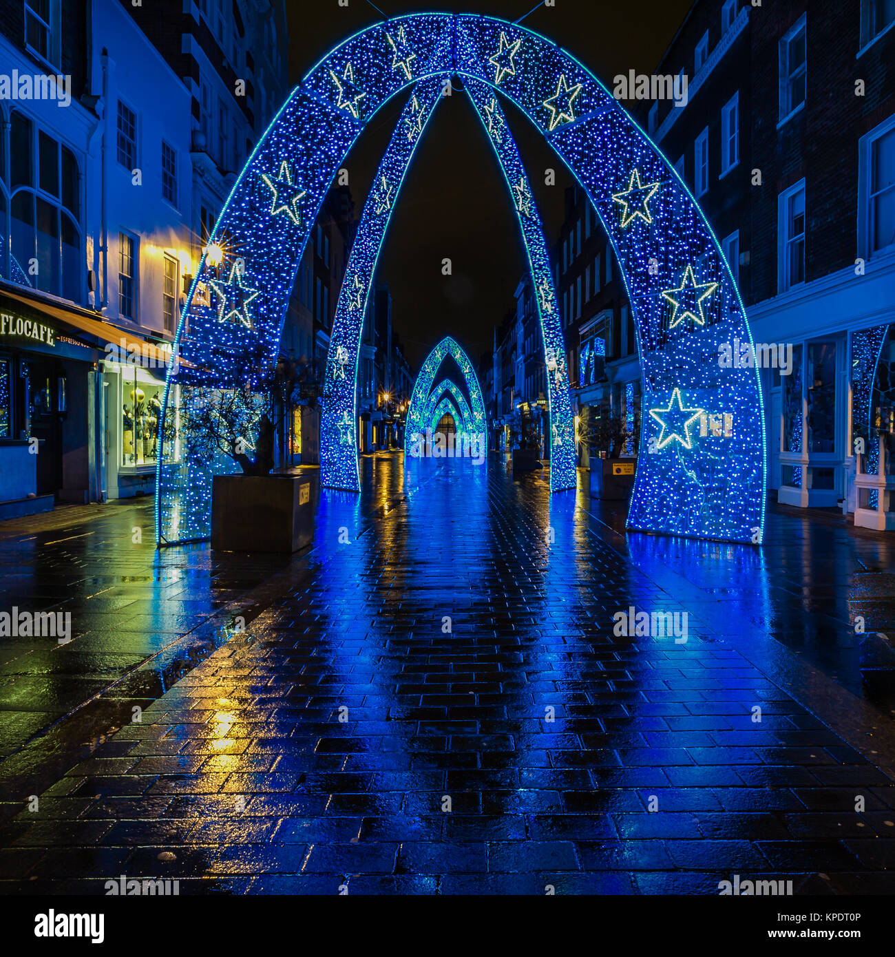 Christmas street lights and decorations in London - Stock Image