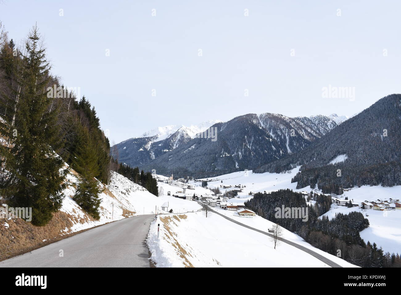 tyrol,winter,kartitsch,church,village,ig,gailtal,snow Stock Photo