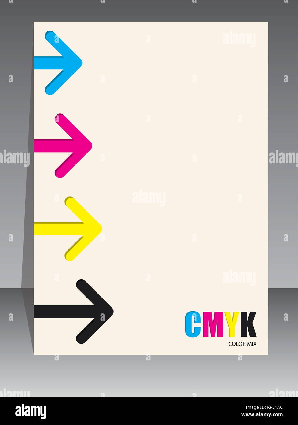 Abstract cmyk brochure with arrows - Stock Image