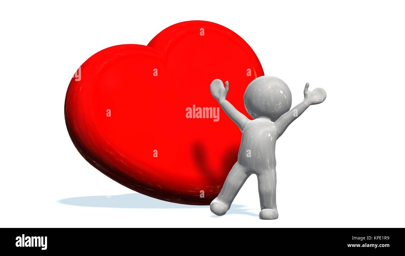3d White People Heart Isolated Stock Photos & 3d White