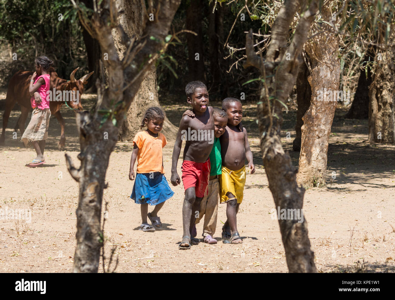 Malagasy kids in the village. Madagascar, Africa. - Stock Image