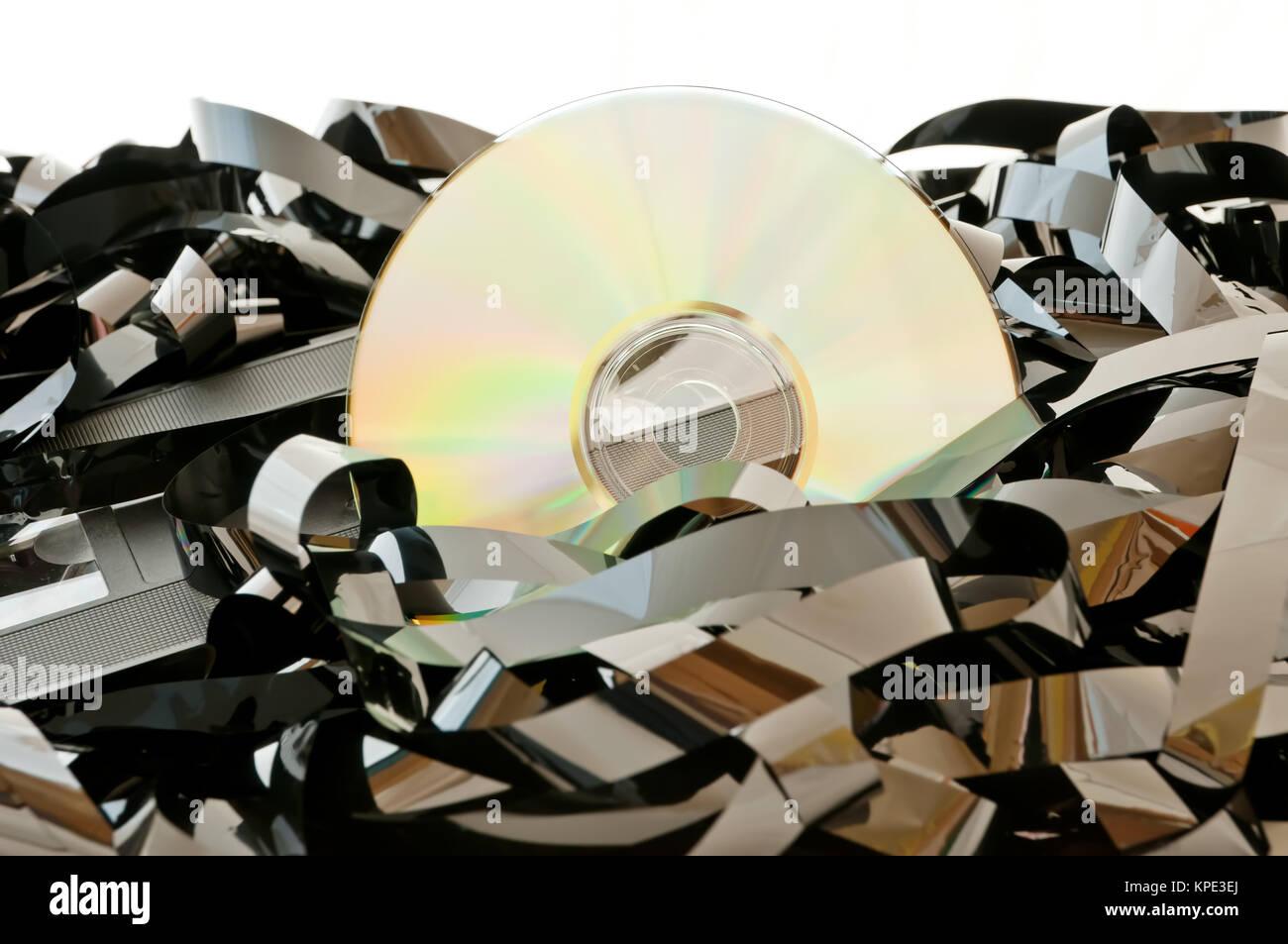 CD, VHS-Band Durcheinander Stock Photo