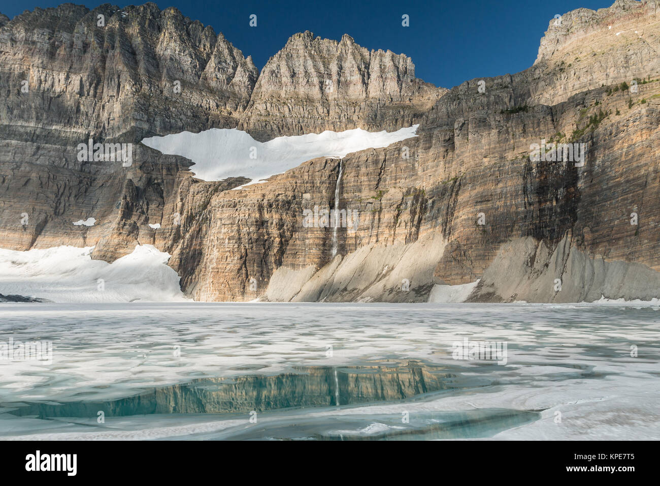 Frozen Upper Grinnell Lake and the Garden Wall in Glacier National Park, Montana - Stock Image