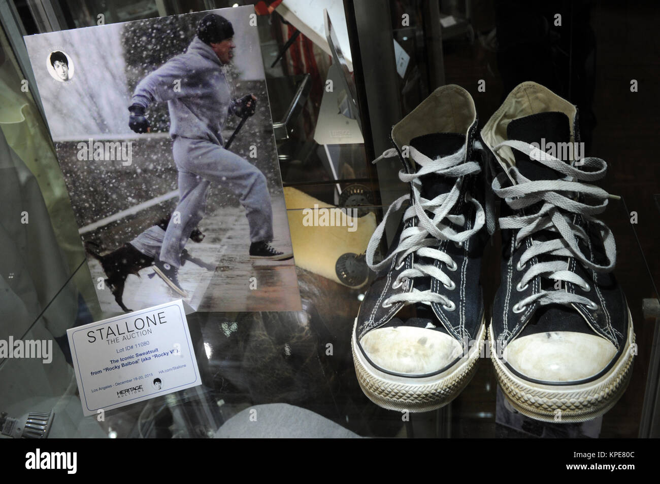 NEW YORK, NY - OCTOBER 21: A pair of shoes worn by actor Sylvester Stallone in the film' Rocky VI' on display - Stock Image