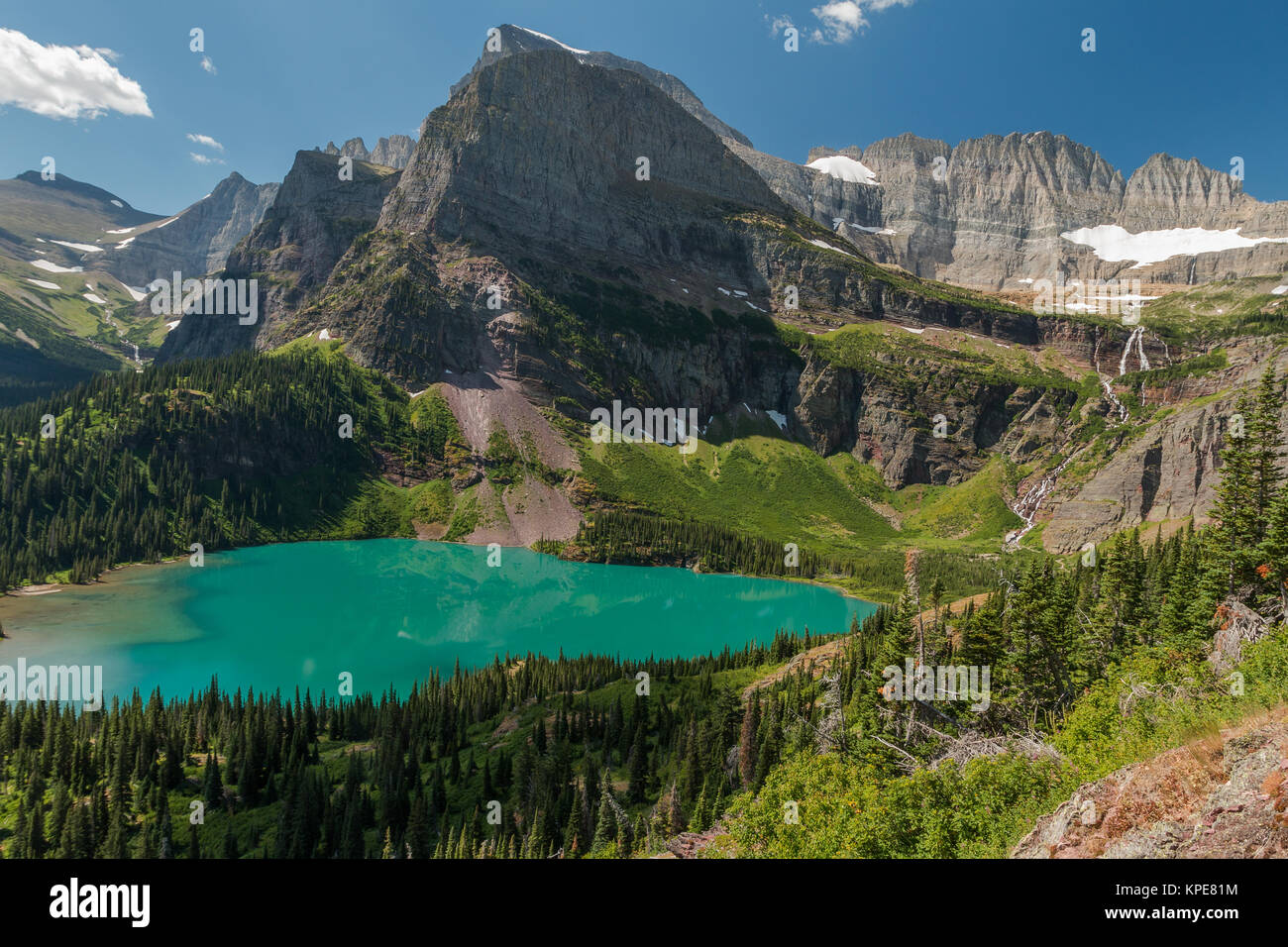 Grinnell Lake and the Angel Wing in Glacier National Park, Montana - Stock Image