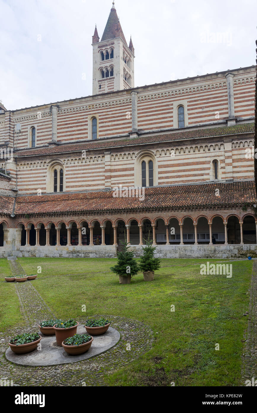 Cloister of San Zeno in Verona - Stock Image