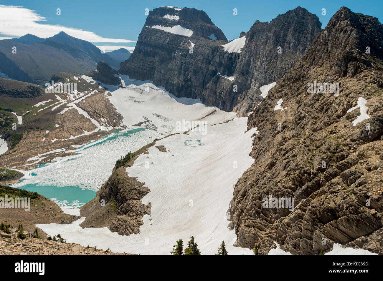 Grinnell and Salamander Glaciers from the Highline Trail in Glacier National Park, Montana - Stock Image