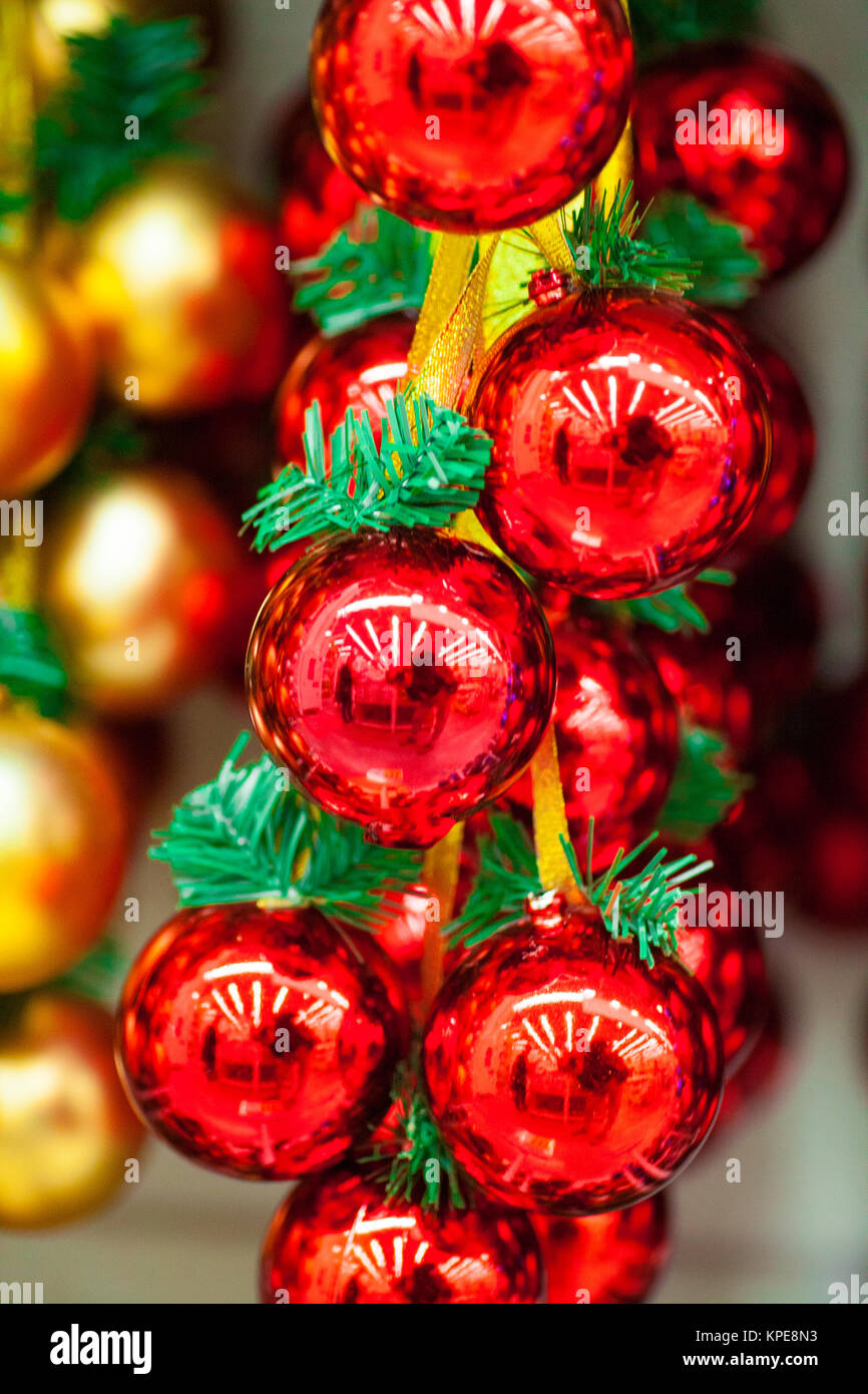 Multicolored bright shiny Christmas decorations ornaments for a ...