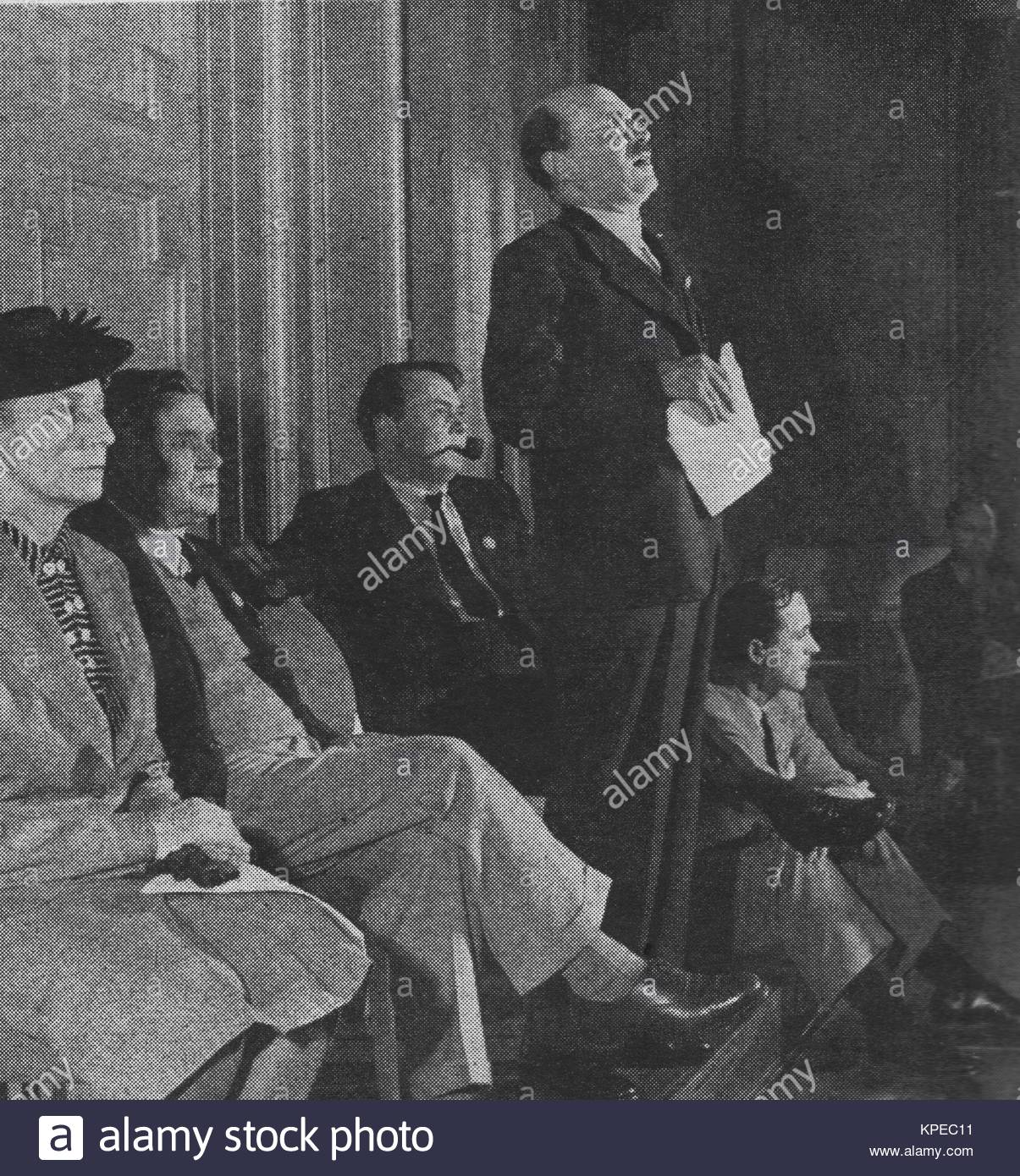 Clement Attlee (1883 – 1967) a British statesman of the Labour Party in a 1946 photo. He served as Prime Minister - Stock Image