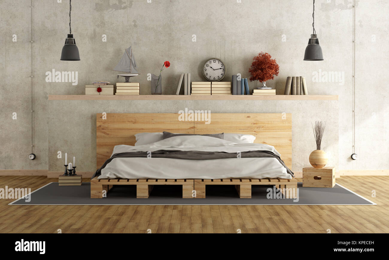 Bedroom With Pallet Double Bed