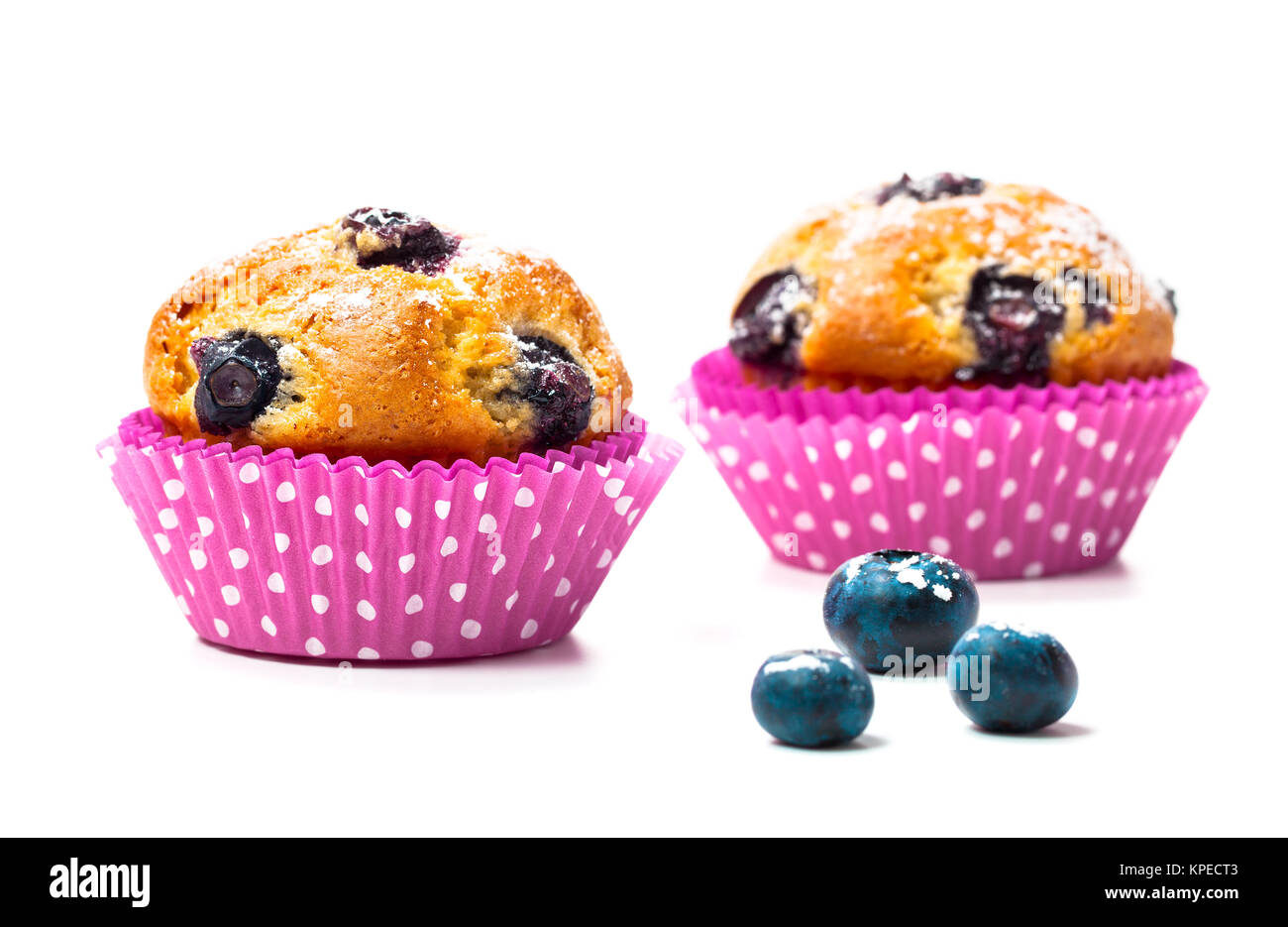 blueberry muffins with berries Stock Photo