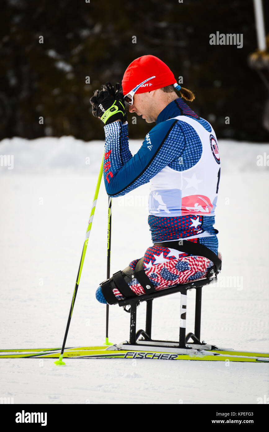 US Army veteran Andy Soule prepares for a sit-ski race at Craftsbury Outdoor Center; Craftsbury; VT; USA; 2016 US - Stock Image