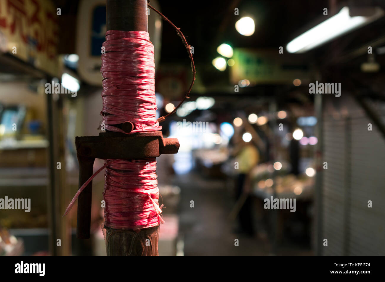 Pole tied up - Stock Image