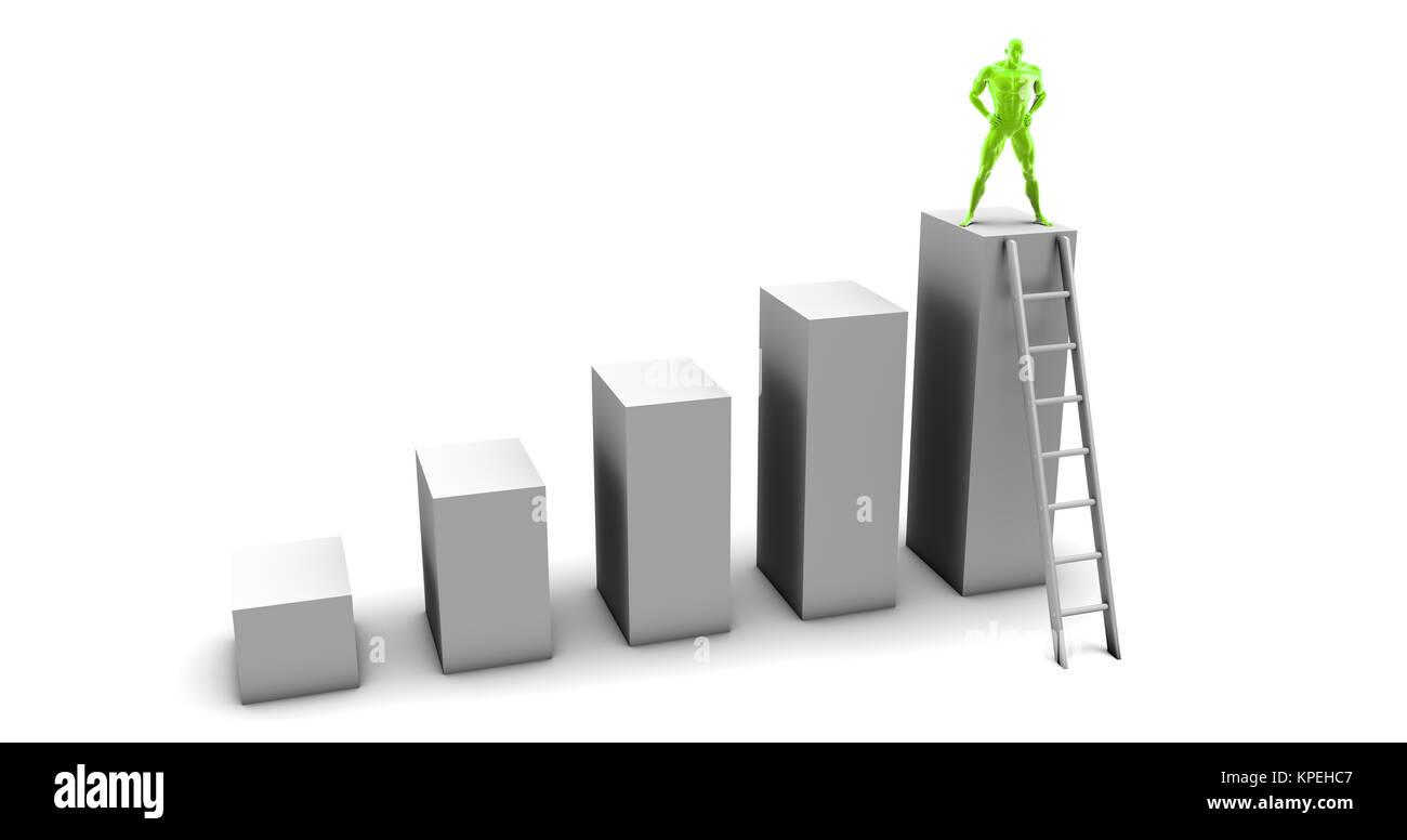 Man Climbing Up Ladder - Stock Image