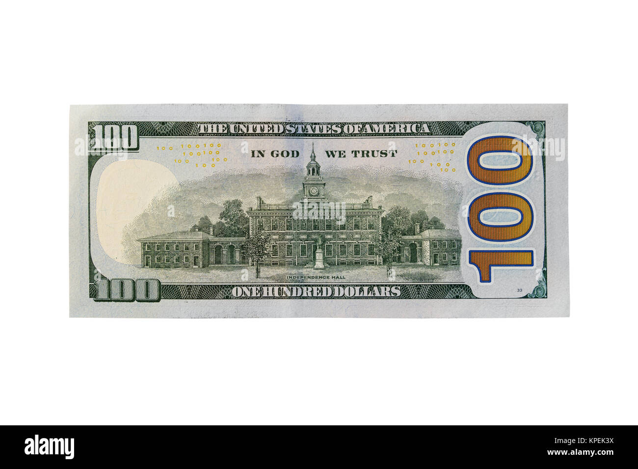 Back of new one hundred dollar bill isolated on a white background - Stock Image