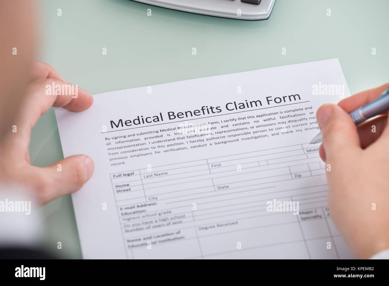 - 168739062 Medical Hand Alamy Benefits Form Over Claim Photo Stock Person