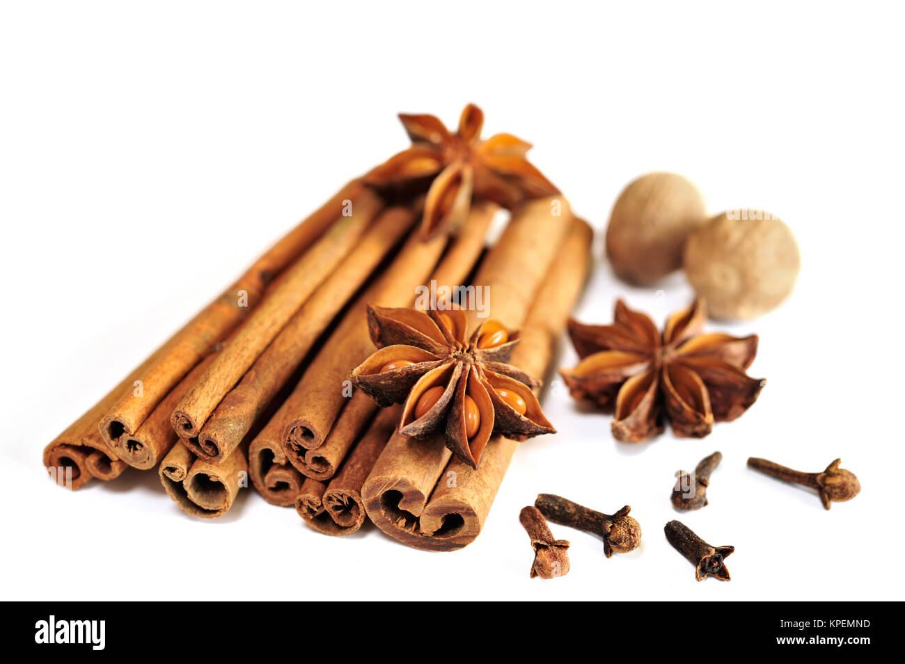 Anise star on cinnamon sticks Stock Photo
