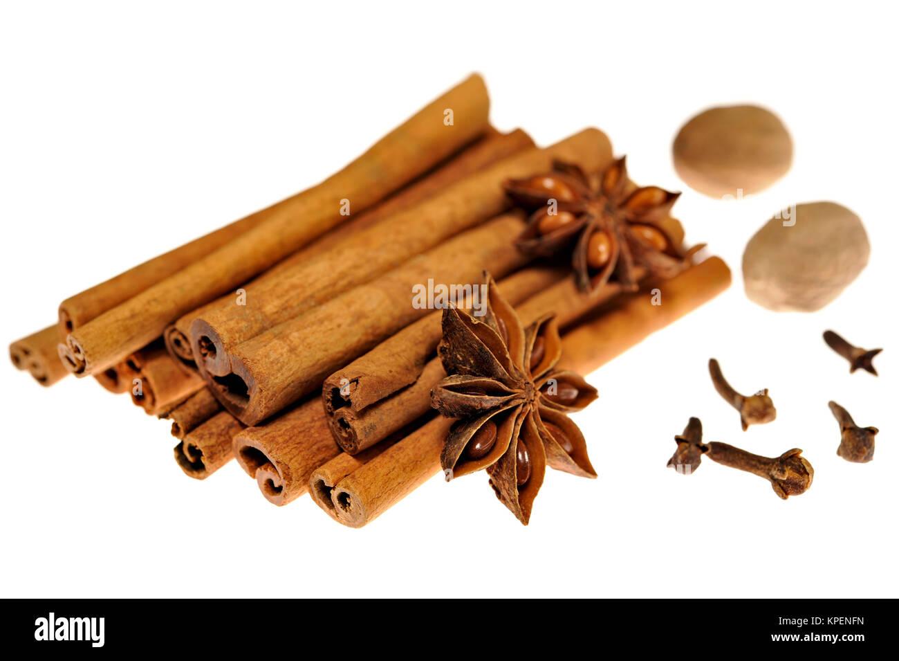 Anise star on cinnamon sticks - Stock Image