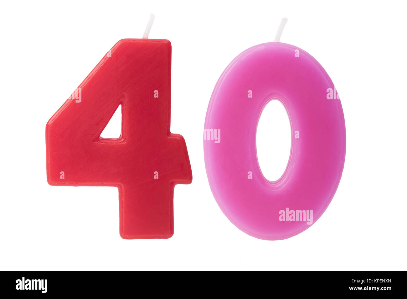 40th birthday candles isolated - Stock Image