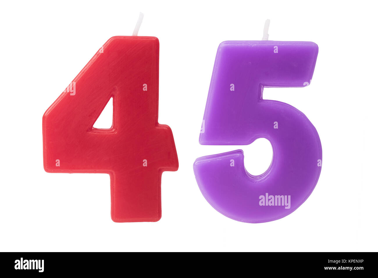 45th birthday candles isolated - Stock Image