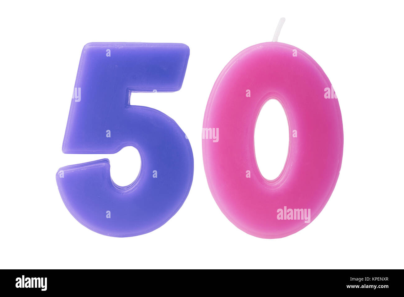 50th birthday candles isolated - Stock Image