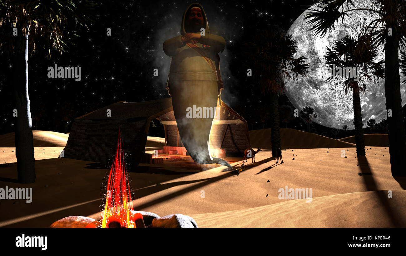 3D genie in an Arabian desert - Stock Image