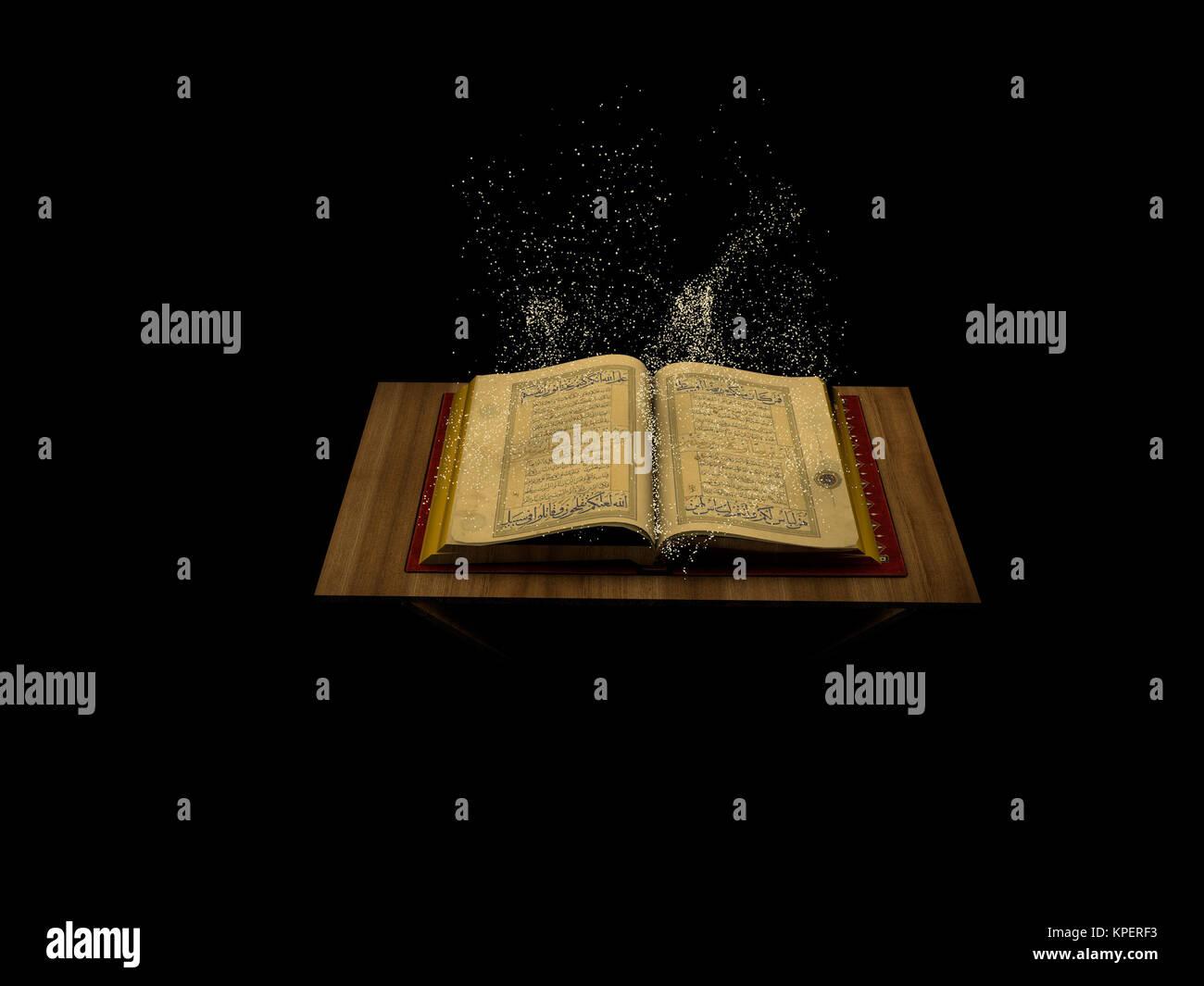3d arabic Muslim Quran book - Stock Image