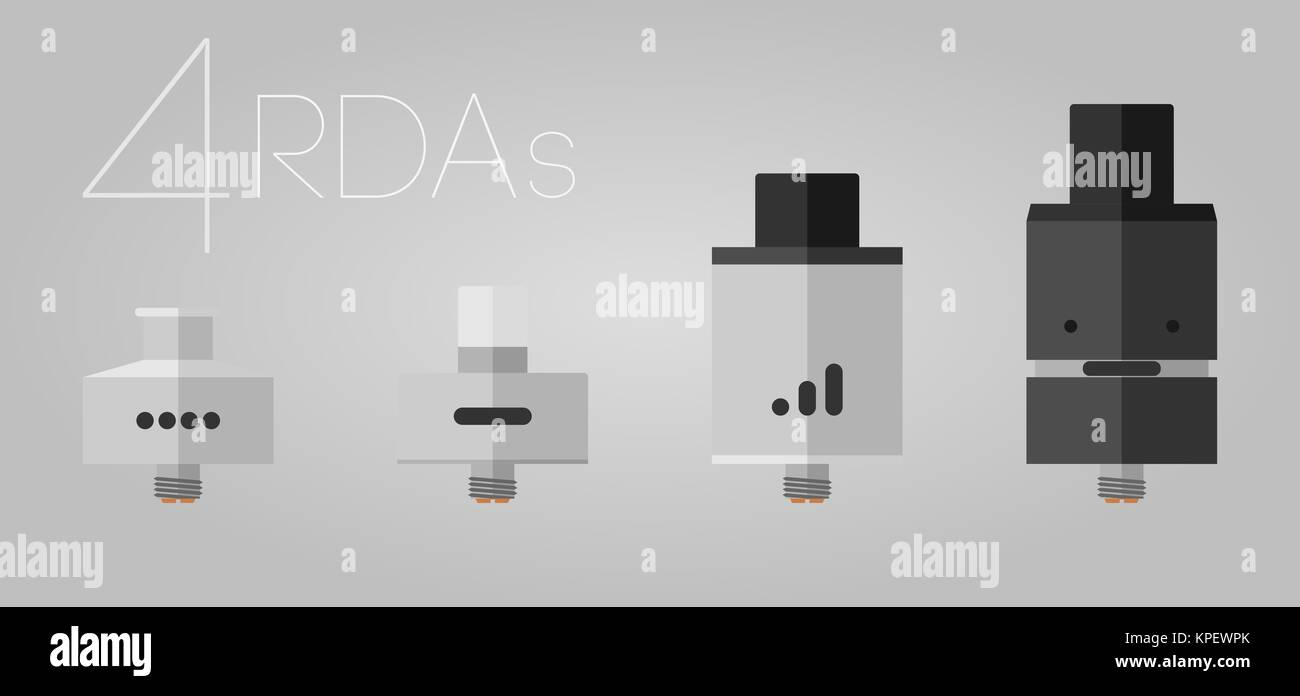 4 e-liquid bottles - Stock Image