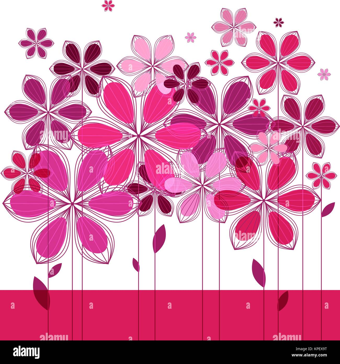 Greeting card, pink floral composition on white background - Stock Image