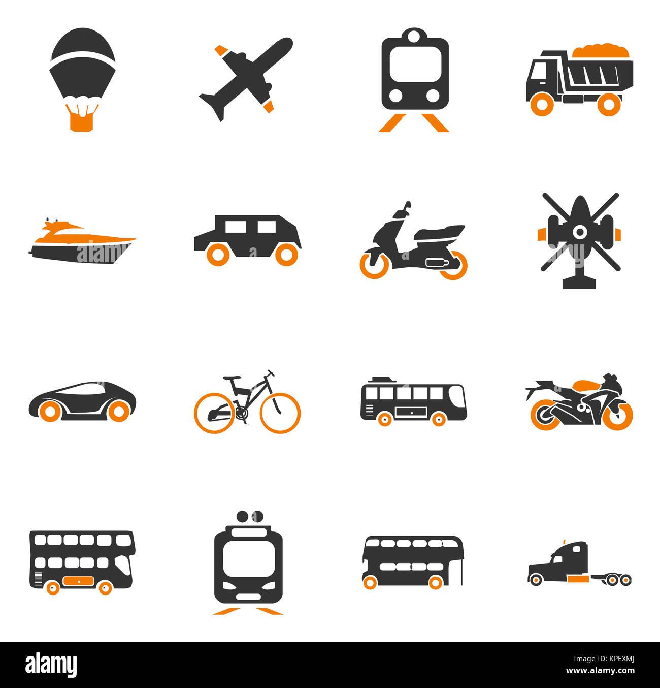 Transport types icons set - Stock Image