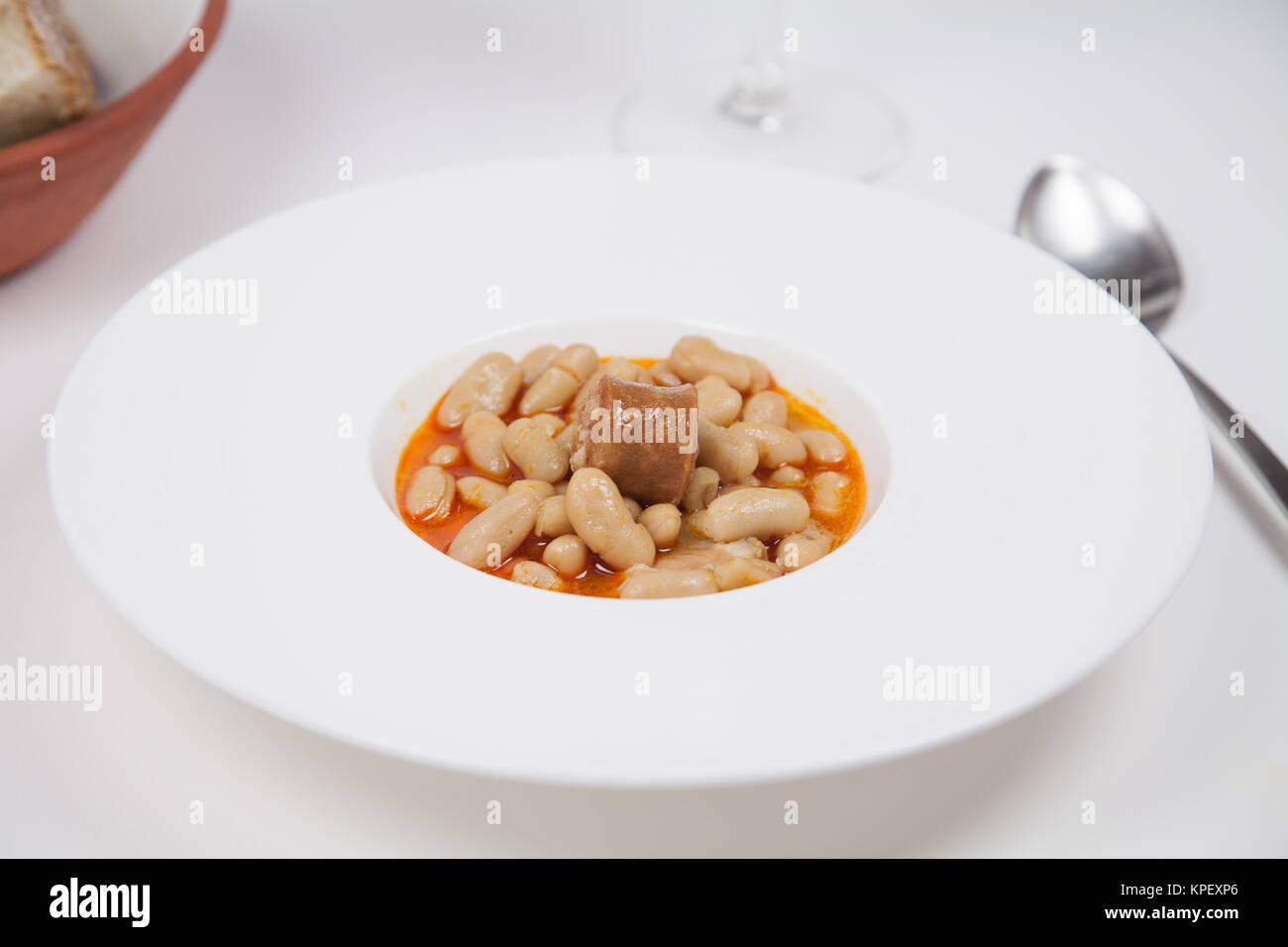 Asturian fabada dish Stock Photo